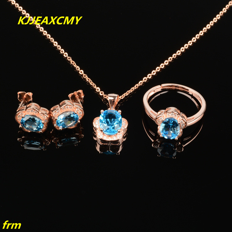 KJJEAXCMY Fine jewelry, 925 Sterling Silver Natural topaz ring in sterling silver with a pendant and earrings female set of 3 p недорго, оригинальная цена