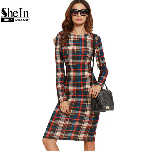 SheIn Elegant Bodycon Dress Winter Autumn Dress Fall 2016 Multicolor Plaid Long Sleeve Knee Length Pencil Dress