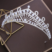 Fashion Simulated Pearl Tiara Crown Korean Wedding Brides Headdress Hair Accessories Headband For Women Girls Party