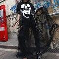 2017 T-shirt Patchwork Mesh Fake Two Pieces Summer Dress Women Pin Rivet Chain Skull Print Hip Hop Punk Dresses #170205