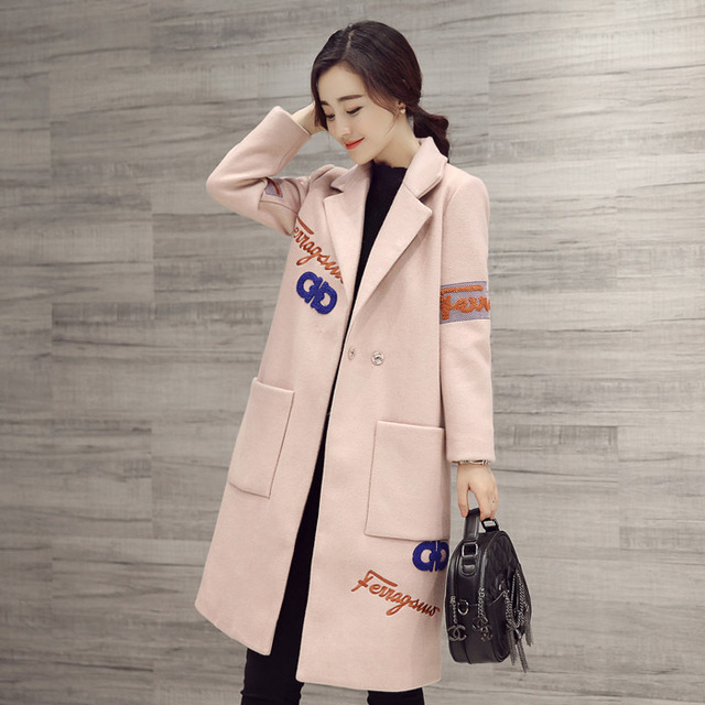 New Nice UK Style Brand Spring Woolen Coats Winter Grey Simple ...