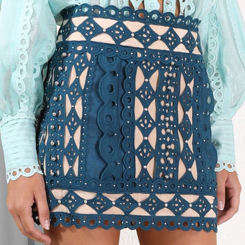 2019 New Fashion Show Collection Blue White Skirt Women Summer Short Mini Skirts Chic Party Outfit Clothing Sexy Skirt Clubwear