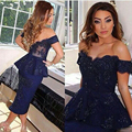 Fashion Royal Blue Off the Shoulder Sweetheart Appliqued Beaded Sheath Tea Length Bridesmaid Dresses