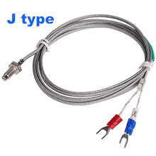 J Type M6 Screw Probe Thermocouple Temperature Sensor with 2M Cable for Industrial Temperature Controller