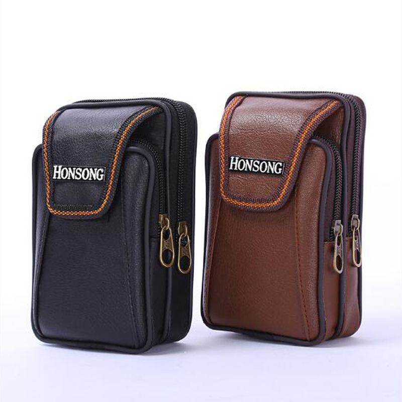 2019 New Men's Vertical Mobile Phone Bag Double Zipper Wear Belt Purse Soft Leather Men's Wallet Quality Assurance
