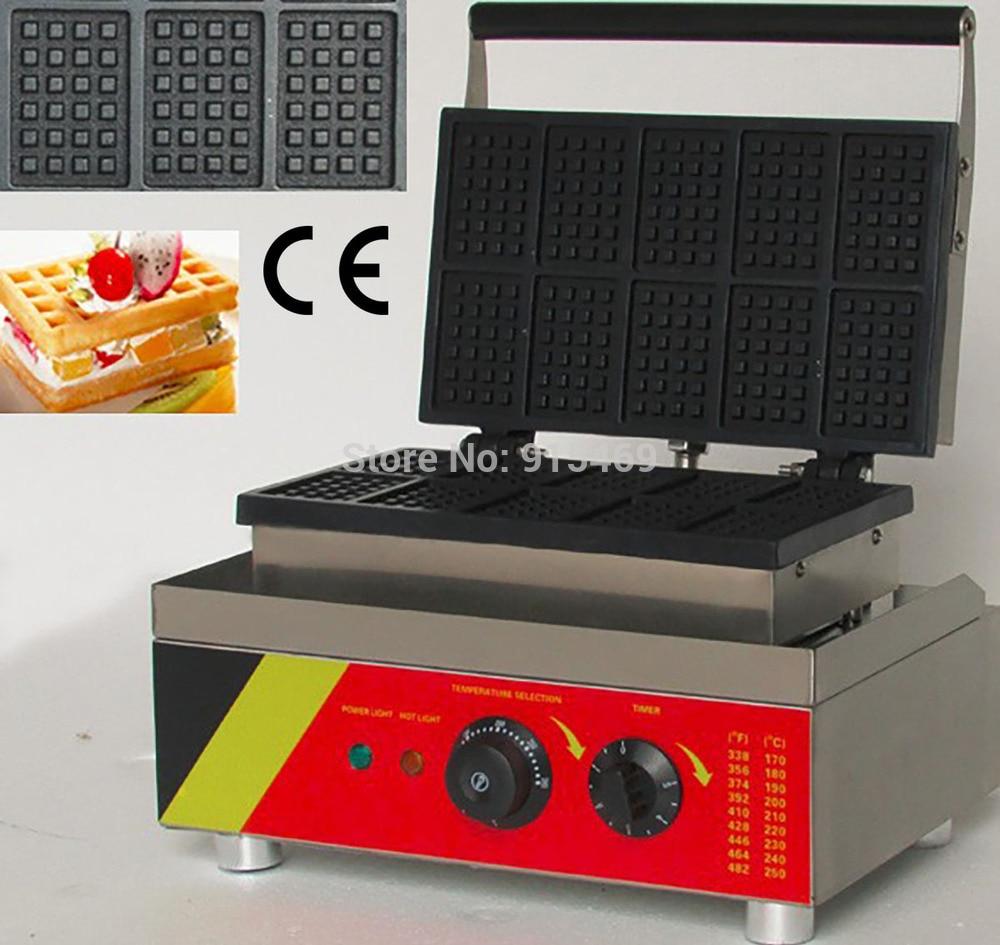 Free Shipping 10pcs 110v 220v Electric Commercial Belgian Waffle Maker Machine Baker free shipping electric 110v 220v 10 pcs waffle maker square waffle machine