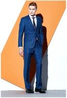 2018 Novo Azul Marinho dos homens Ternos de Negócio Ternos de Casamento Fino apto para Homens Homens Blazer Entalhado Lapela 2 Peças Dois botões