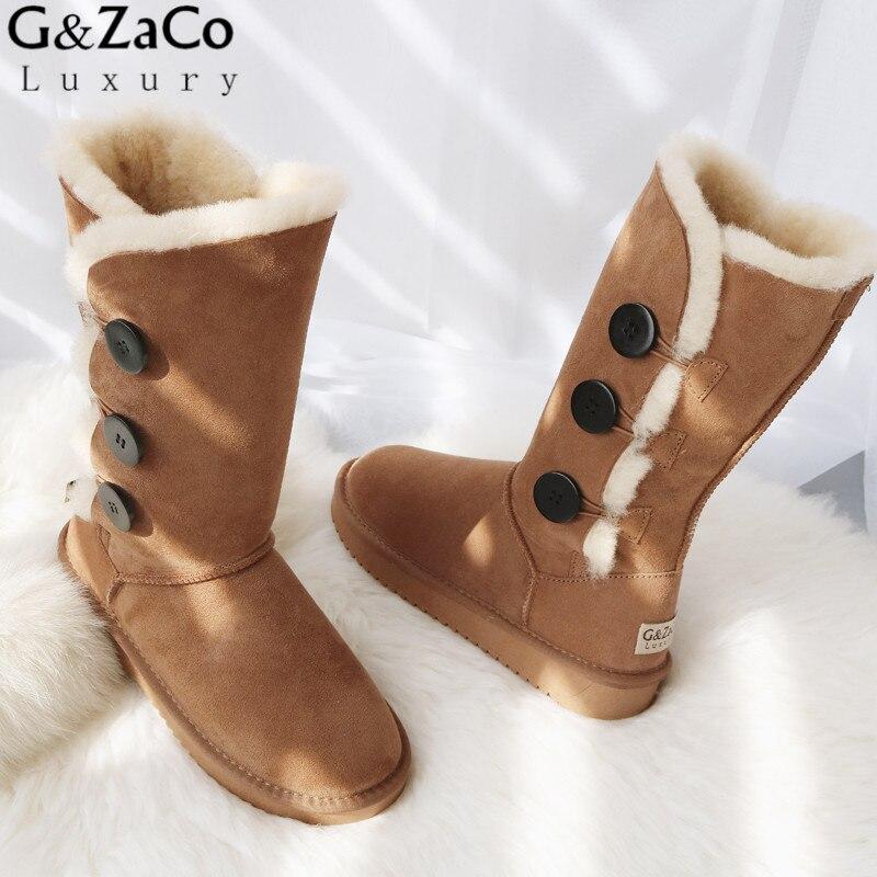 G&ZaCo Winter Sheepskin Snow Boots Knee-high Sheep Fur Boots Warm None Slip Long Three Button Natural Wool Boots Women Shoes