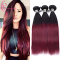 Ombre Two Tone T1B/99j Peruvian Straight Hair Burgundy 7A Peruvian Virgin Hair Straight Ms Here Hair Weave Soft & Tangle Free