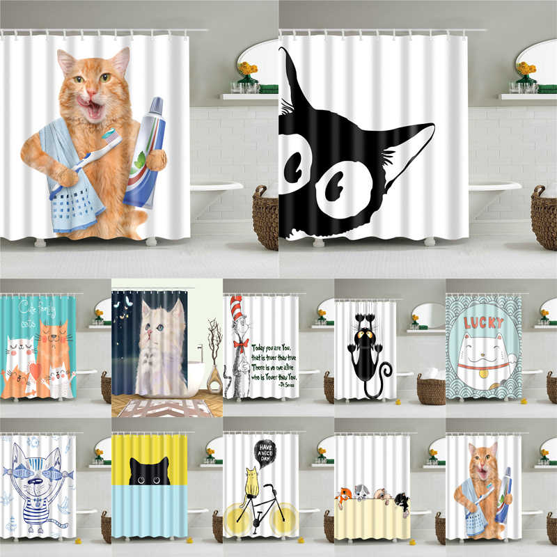 Cartoon Cat Printing Polyester Fabric Shower Curtain for Bathroom Nordic Waterproof Bath Screen Curtains Home Decoration