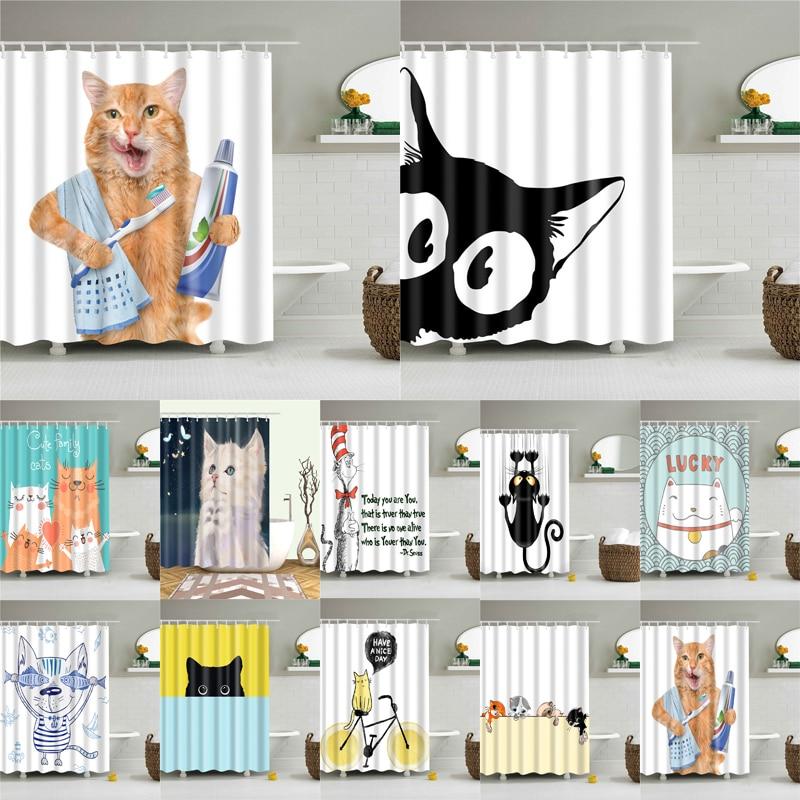 漫画猫印刷ポリエステル生地のシャワーカーテン浴室北欧防水バス画面のカーテン家の装飾