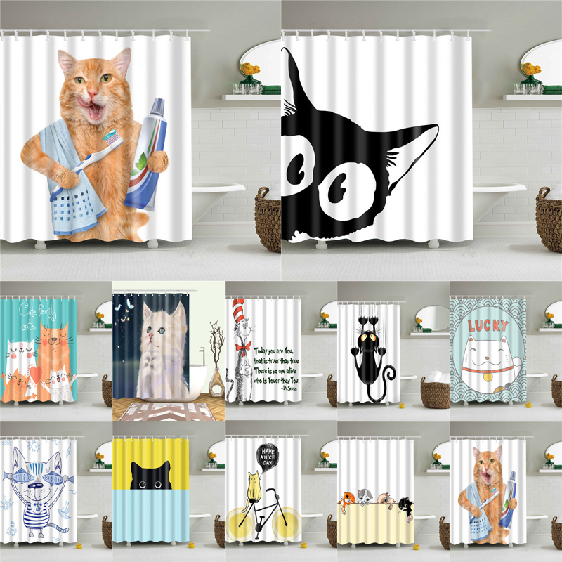 Cartoon Katze Druck Polyester Stoff Dusche Vorhang für Bad Nordic Wasserdichte Bad Bildschirm Vorhänge Hause Dekoration
