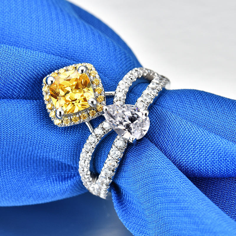 Customization 3ct Carat Yellow 5A High Quality NSCD Princess Rings for Women Engagement Ring S925 Pure Sliver Female JewelryCustomization 3ct Carat Yellow 5A High Quality NSCD Princess Rings for Women Engagement Ring S925 Pure Sliver Female Jewelry