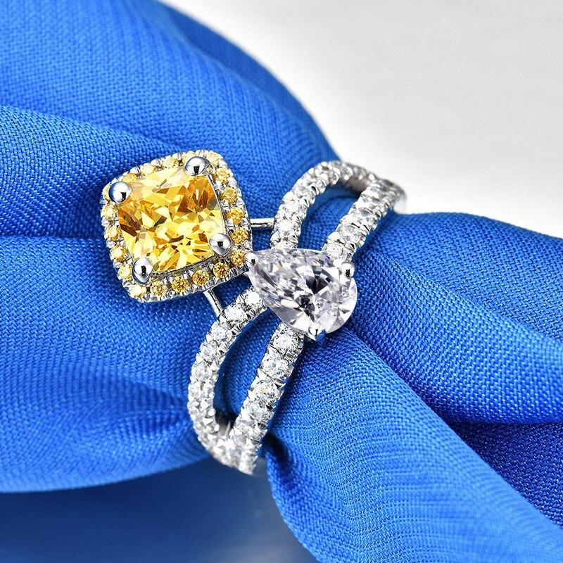 Personnalisation 2ct Carat jaune 5A haute qualité NSCD princesse anneaux pour femmes bague de fiançailles S925 pur argent femme bijoux