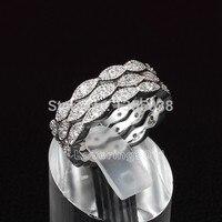 Monili di modo Dei Monili AAAAA zircone cz Oro Bianco 10KT Riempito Tre Wedding Ring Sz 5-10 Regalo Libero libero
