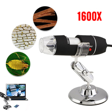купить 8LED Digital Microscope Endoscope 1600X ABS Practical Portable Inspection Photos Computers Real-Time Video With Bracket дешево