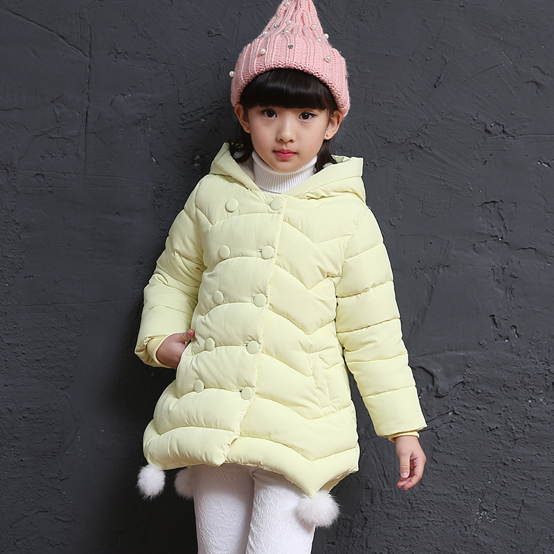 Winter Down Jacket Girl Child Children In Cotton New Year  A Lively Girl Dressed In Cotton-padded Clothes In Park Happy To Play free shipping winter new children s wear patch splicing shoulder button boy cotton padded clothes child quilted jacket