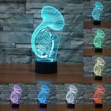 Creative Saxophone 3D Sax LED Night Lights Colorful Acrylic Table Lamp For Decoration Lightings Christmas Gift Lamp IY803360