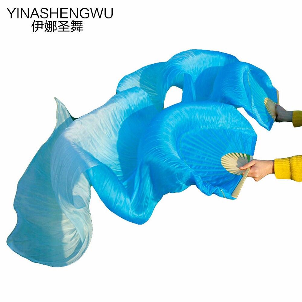 Belly Dance Fan Veils New Arrivals Stage Performance Dance Fans 100% Silk Veils Colored Women (2pcs)