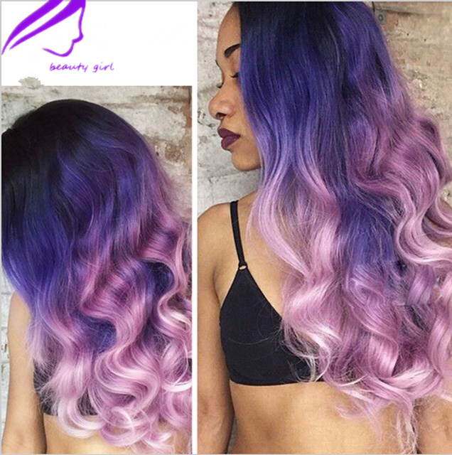 Factory Wholes Black Roots Blue Pink Ombre Wig Long Wavy Synthetic Lace Front Heat Resistant For Africa American