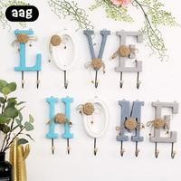 wooden wall door hanger letter number figure home decorative wall hanging hook Clothes Hat Scarf Key Coat Towel Handbag hooks Hooks & Rails    -