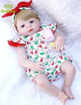 55cm Full Body Silicone Reborn Baby Doll Toy Baby-Reborn Babies Dolls Lifelike Child princess girl dolls  bonecas bathe Toy
