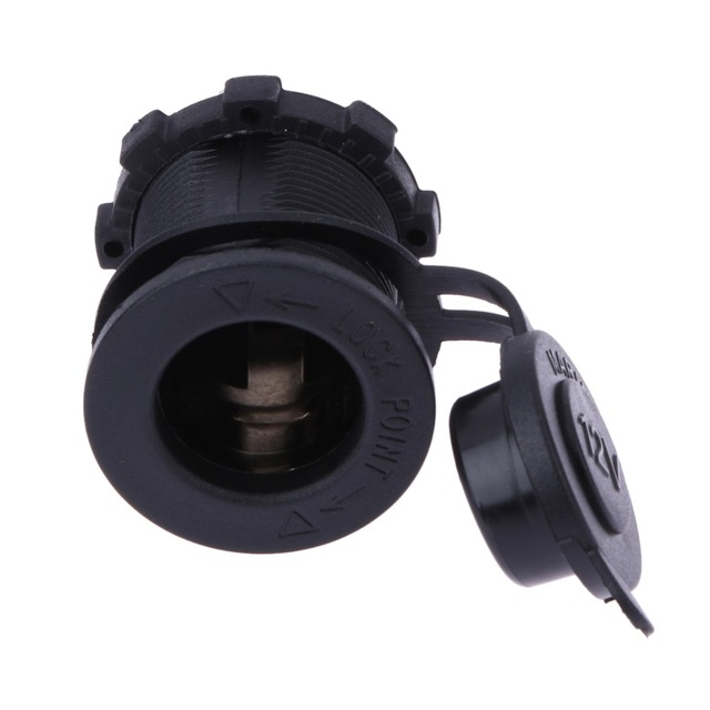 12V 120W Motorcycle Car Boat Tractor Accessory Waterproof Cigarette Lighter Power Socket Plug Outlet Car-styling Black Color