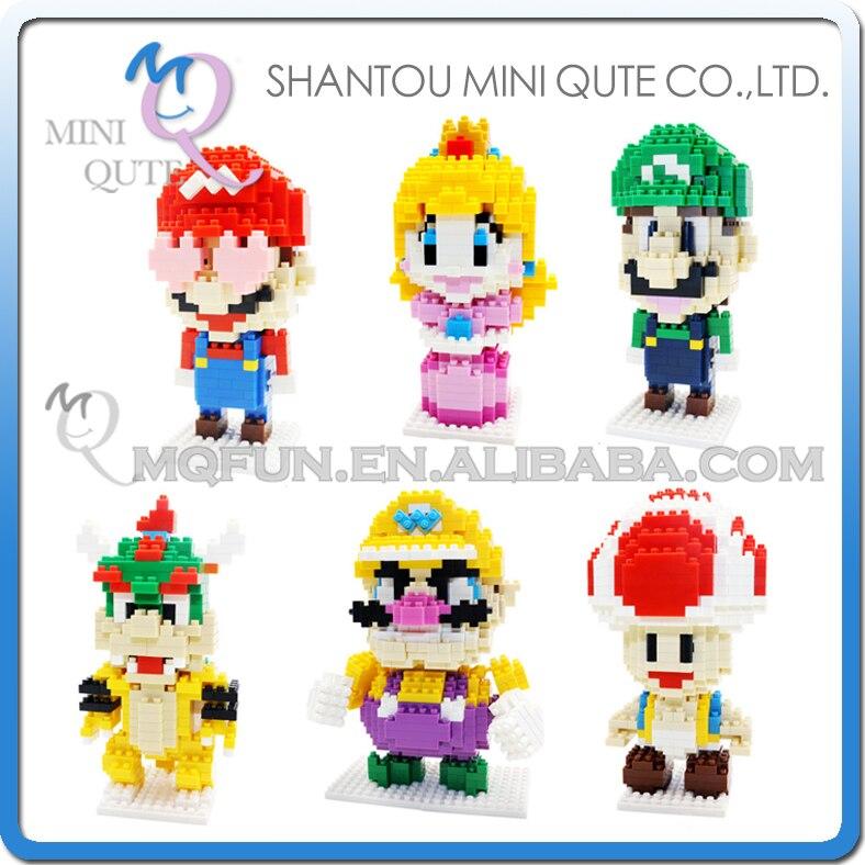 En gros Mini Qute 96 pcs/lot CKL dessin animé super Mario crapaud Wario Bowser blocs de construction briques dessin animé modèle jouet éducatif