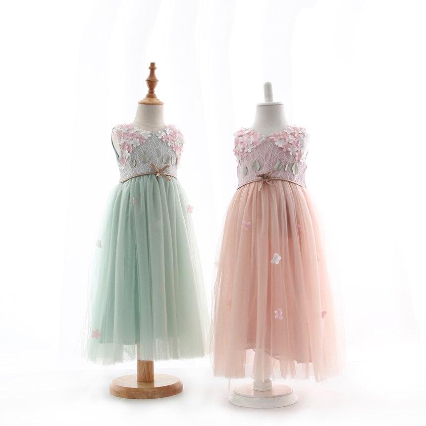 Children Girls Floral Embroidery Bow Vest Summer Dresses Princess Kids Fairy Party Clothing 5 pcs lot