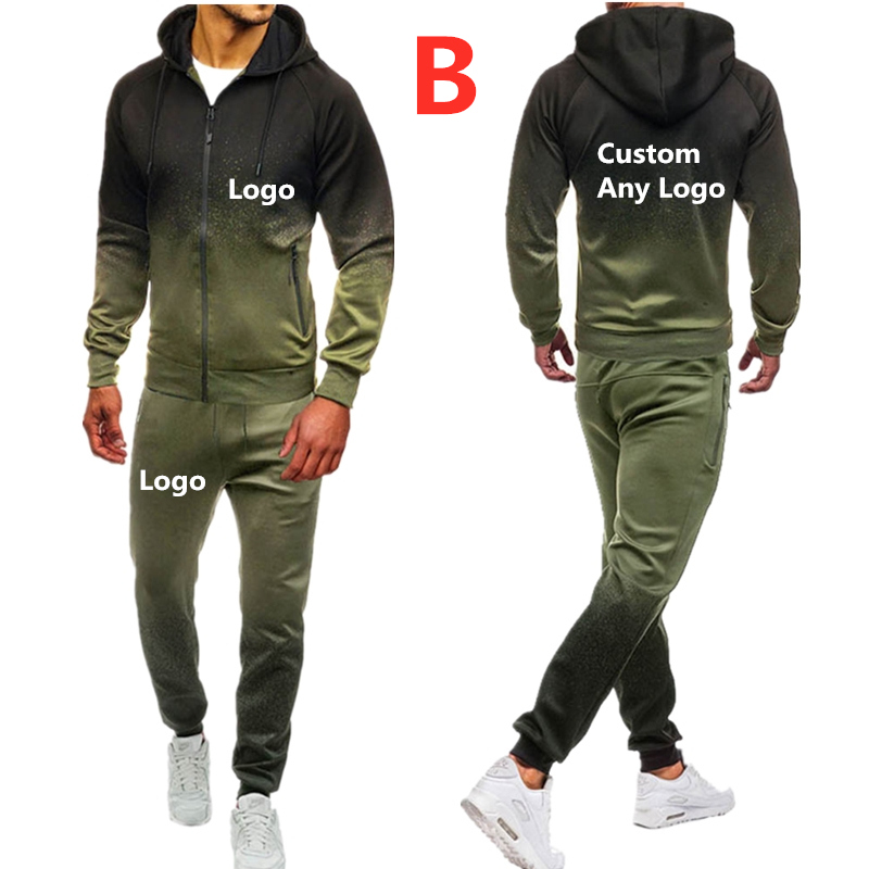 B Men's Print Any Logo Sport Suit Brand Hoodies Men Cotton Fall/Winter Warm Hoodies Sweatshirts Men's Casual Tracksuit Costume