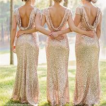 2017 Long Gold Bridesmaid Dresses Scoop Short Sequineds Mermaid Floor-Length Robe Demoiselle Honneur Red Bridesmaid Dresses