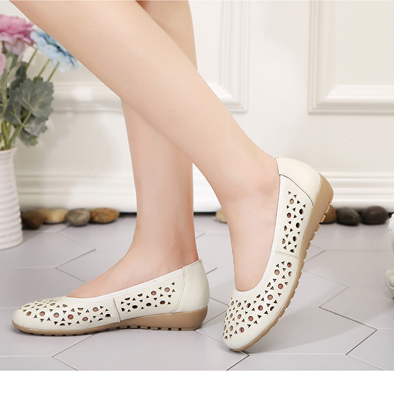 AIYUQI Sandals summer women 2019 new genuine leather sandals women hole breathable flat bottom mom sandals big size shoes women in Women 39 s Sandals from Shoes