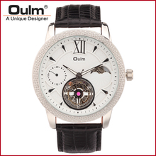 Oulm HP3682 Gold Big Dial Leather Strap Mechanical Watch for Men Wristwatches