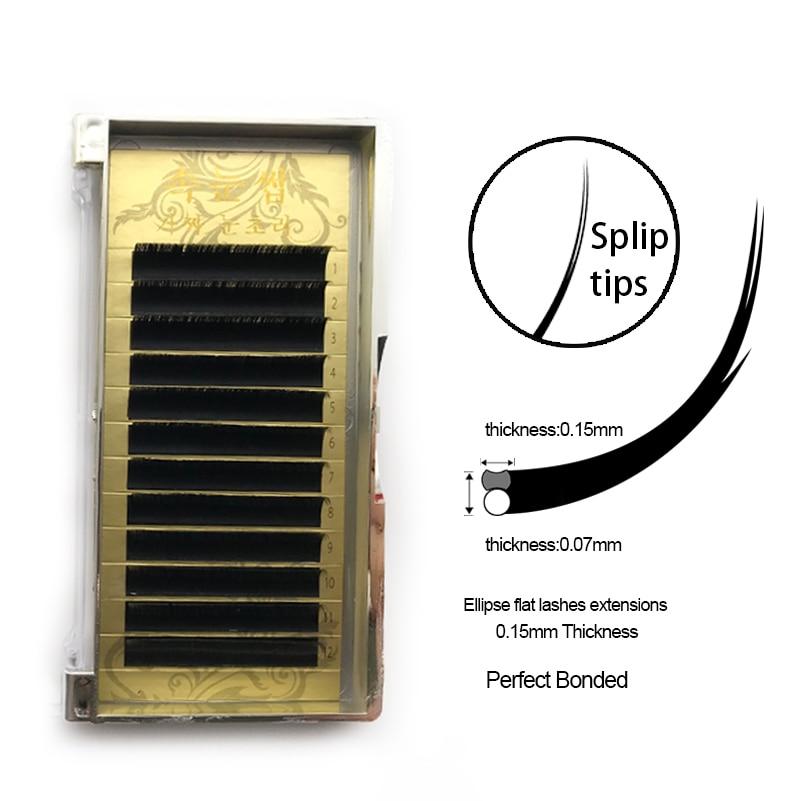 4trays Ellipse Flat Eyelashes, all size false eyelashes mink extension,silk individual black lashes 0.15/0.2 B/C/D Curl