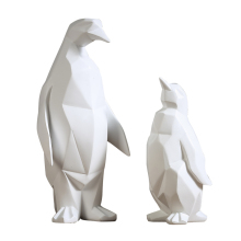 Simple Geometric Animal Sculpture White Penguin Figurine Modern Abstract Decors Gifts Statue Gift Home Decoration Accessories