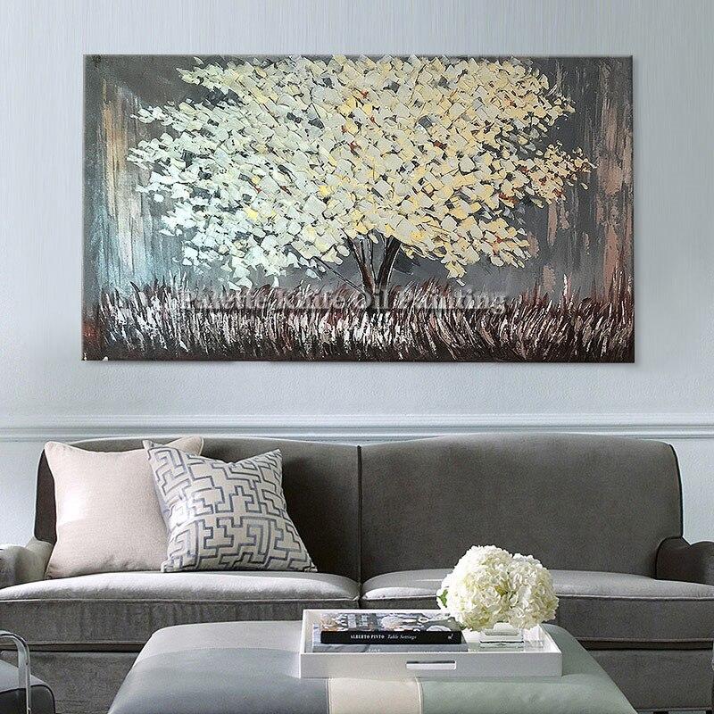 c76be990bbaa0 رسمت باليد وحة سكين اللوحة الحديثة 3d الملمس زهرة شجرة على قماش ، جدار غرفة  المعيشة ديكور المنزل