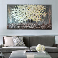 Painting of Modern Hand Painted palette knife 3D texture Flower Tree on Canvas, Wall Pictures For Living Room home decorative