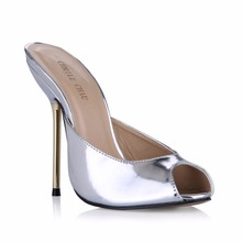 Slip On Sandals High Heels Women Fashion Heels Peep Toe Metal Heels Shoes Plus Size 35-43 Patent Sexy Slides Slippers 3845-FA5