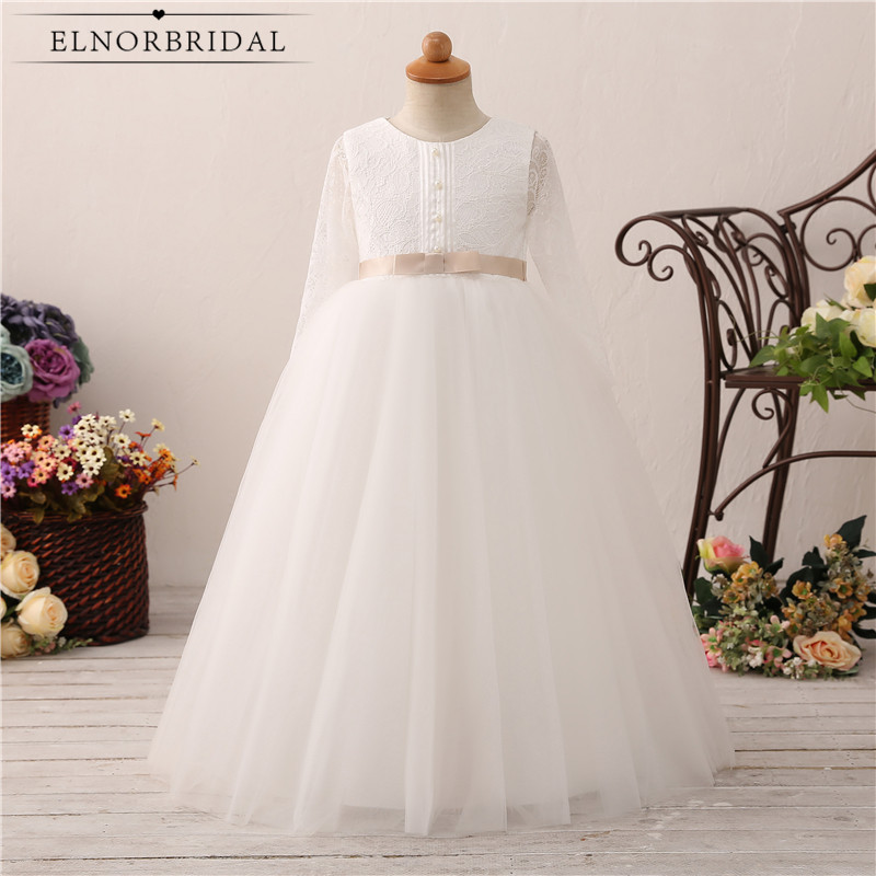 Long Sleeve   Flower     Girl     Dresses   2019 Primera Comunion Decoracion Real Photos Lace A Line Weding Party Gowns Little   Girls     Dress