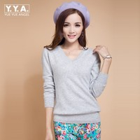 2015 New High Quality Pure Colors Autumn Winter European Style Women Fashion Outwear Pullovers Knitted Cashmere