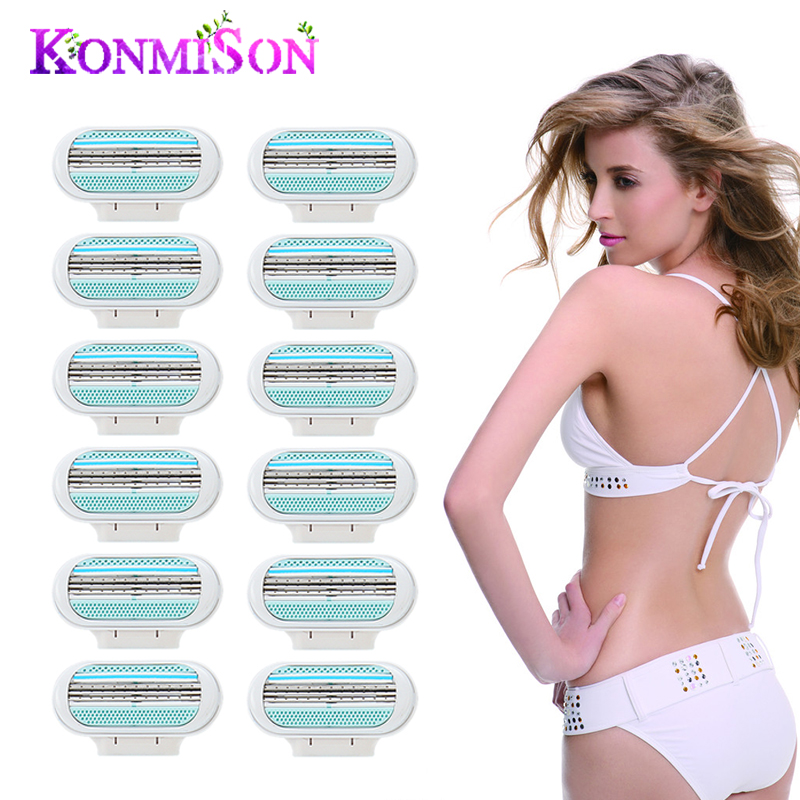 12pcs Razor Blades For Women Refills Replacement Shaver Blades For Body Hair Trimmer Safety Razor Tools US EU RU Version
