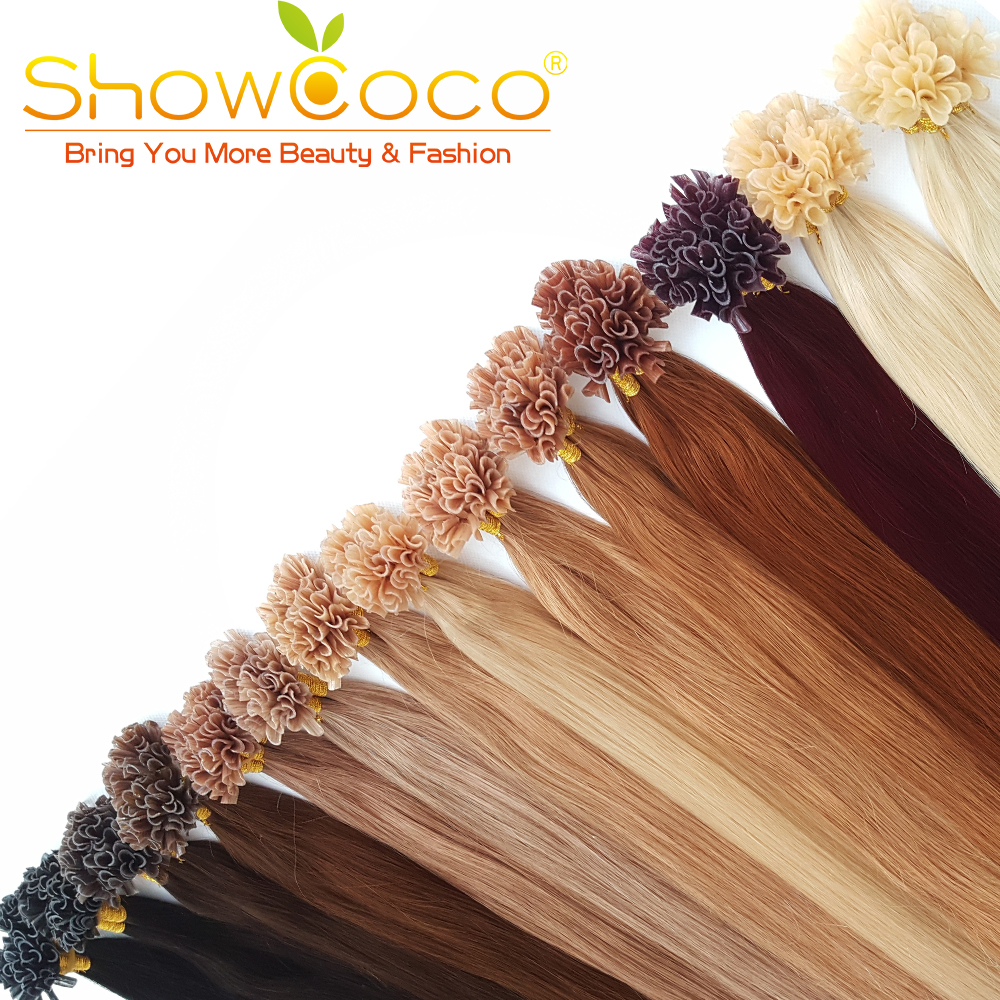 ShowCoco Pre Bonded Hair Extensions In Nail/U Tip Real Hair Extensions Silky Straight Keratin Fusion Hair Extensions MachineRemy