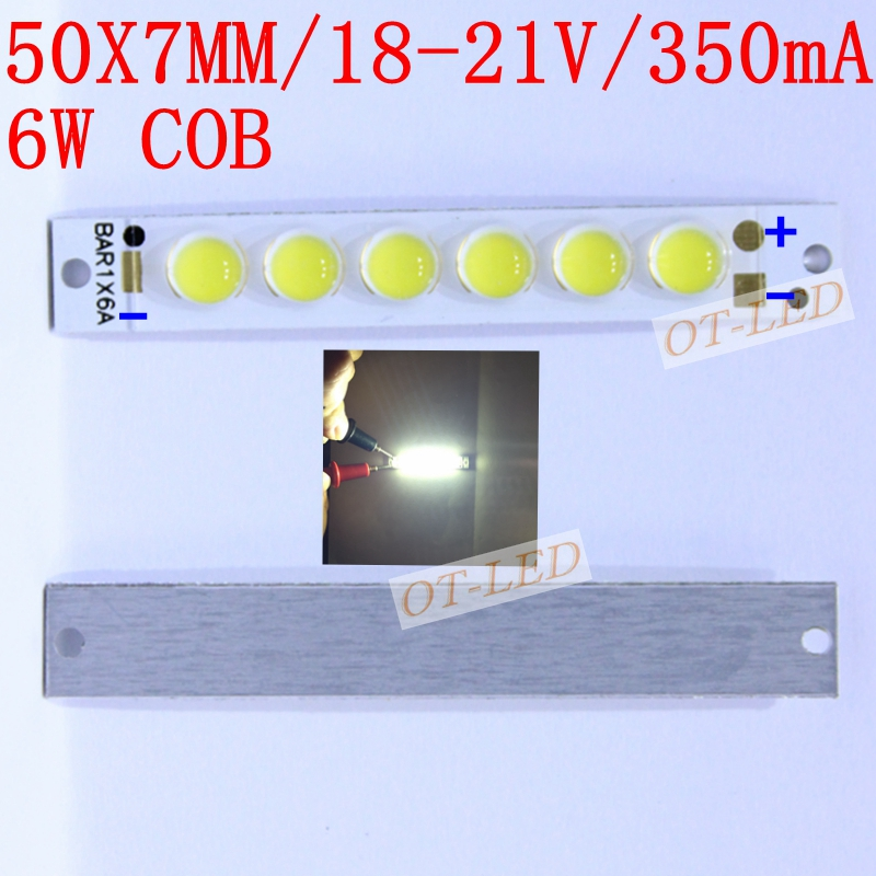 Specail Offer!20pcs/lot 6W COB LED Chip Diodes Emitter Strip Lights Bulb Lamp Pure White 18-21V 350mA for DIY 50X7MM high power 30w cob chip led strip lamp lights bulb 3000lm warm white pure white for diy 92x37mm 36 39v 800ma 10pcs lot