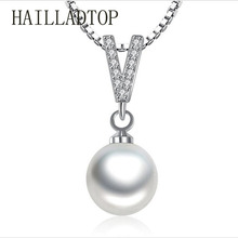 HAILLADTOP Pendent Necklace New Trendy Female Luxury V Shape Pearl Necklace CZ Pendant Necklace Jewelry for Women Wedding Gift