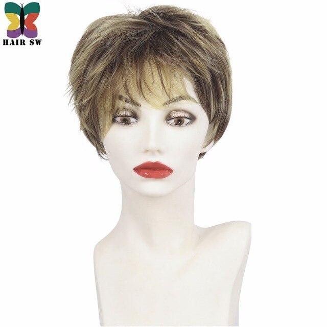 Hair Sw Short Pixie Cut Ladies Wig Brown Mixed Golden Blonde