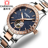 Carnival Fashion Luxury Women Watches Sapphire Star Automatic Mechanical Watch Woman Luminous Relogio Feminino reloj mujer clock
