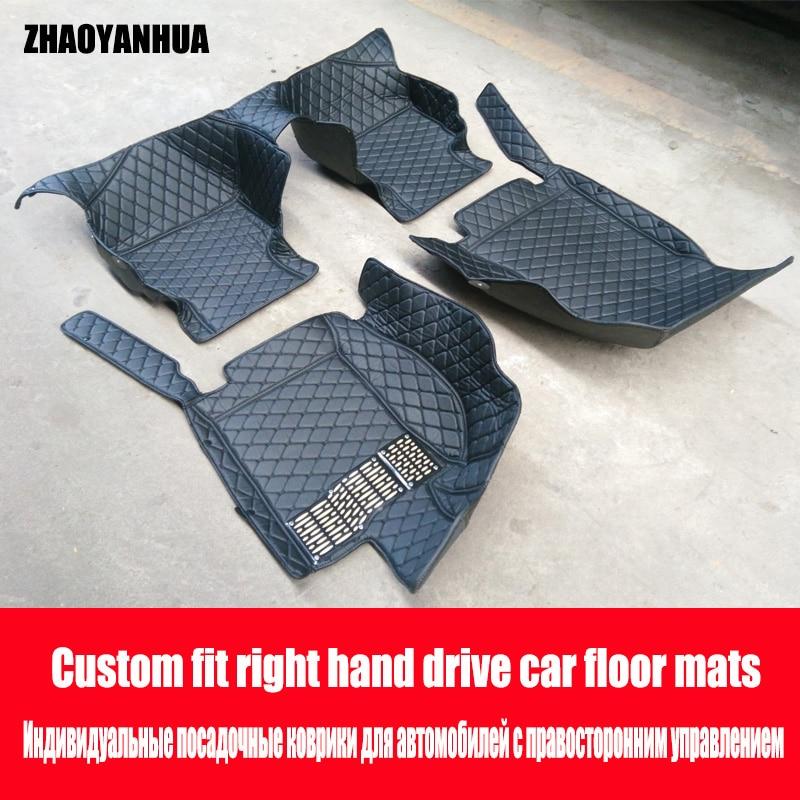 ZHAOYANHUA Right hand drive car car floor mats for BMW 3 series E46 E90 E91 E92 E93 F30 F31 F34 GT 6D car styling carpet floor