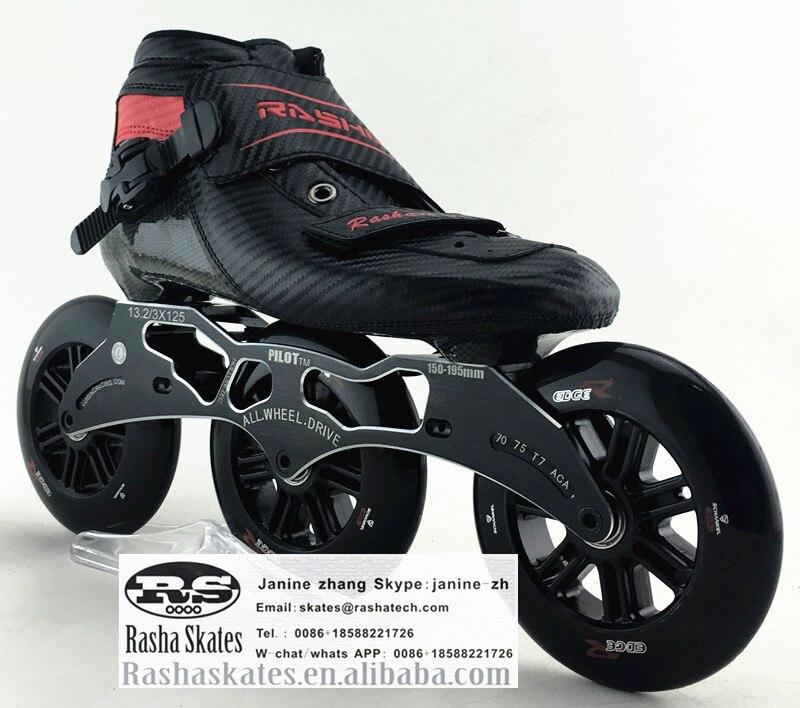 Prix pour RASHA skate inline patins à roulettes de vitesse date bottes de carbone 3*120mm trois couleurs