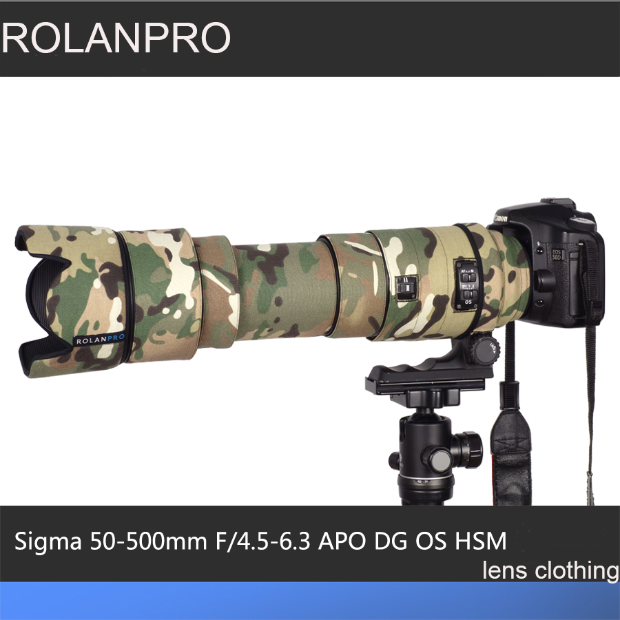 ROLANPRO Lens Camouflage Rain Cover for Sigma APO 50-500mm F/4.5-6.3 DG OS HSM Lens Protective Case Guns Clothing SLR Cotton new sigma af 50 500mm f 4 5 6 3 dg os hsm apo lens for nikon