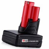 Beste 4000 mAh 12 v M12 Ion Batterij voor Milwaukee 12 Vlot 48-11-2440 C12 B C12 BX M12 M12 XC GRATIS P & P Gratis Verzending